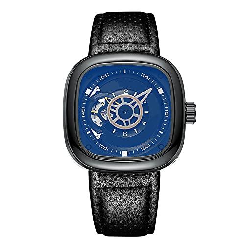 SIMEISM Moda de lujo hombres reloj impermeable fecha reloj cuadrado hombre mecánico reloj militar relojes mecánicos