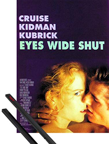 1art1 Eyes Wide Shut Poster (98x68 cm) Tom Cruise, Nicole Kidman E Coppia di Barre Porta Poster Nere
