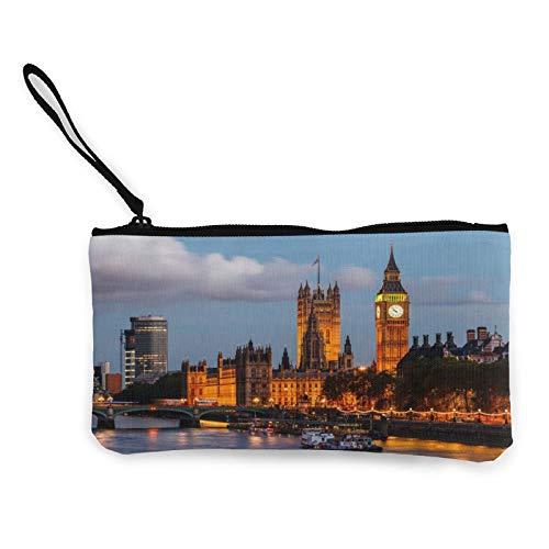 Moneda de lona, Big Ben y Westminster Puente monedero con cremallera, bolsa de cosméticos de viaje multifunción, bolsa de maquillaje para teléfono móvil, paquete de lápices con asa