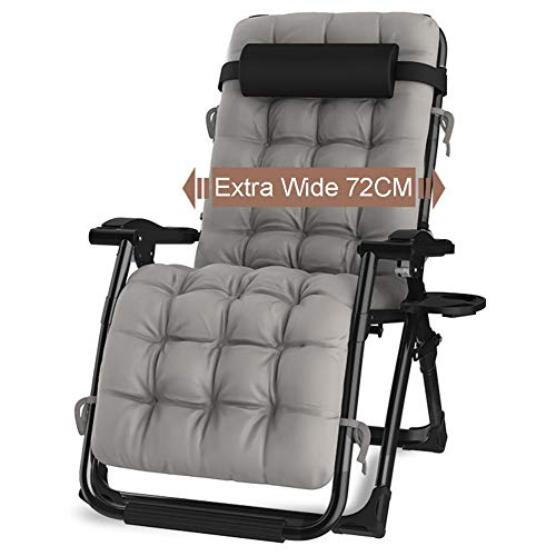LXLA - Oversized Black Zero Gravity Lounge Padded Chair, Wide Armrest Adjustable Recliner with Cup Holder, Support 440lbs (Gray Cushion)