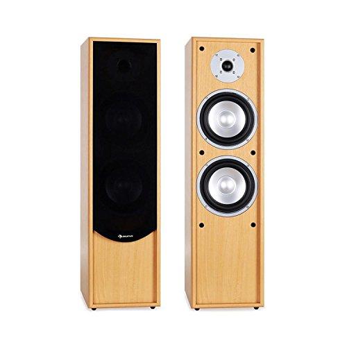 auna Linie-300-BH - Standlautsprecher, Standboxen, Lautsprecher-Boxen, HiFi-Standboxen, 2-Wege-Lautsprecher, 80 Watt RMS Leistung, Bassreflex für druckvollen Klang, Holzgehäuse, buche