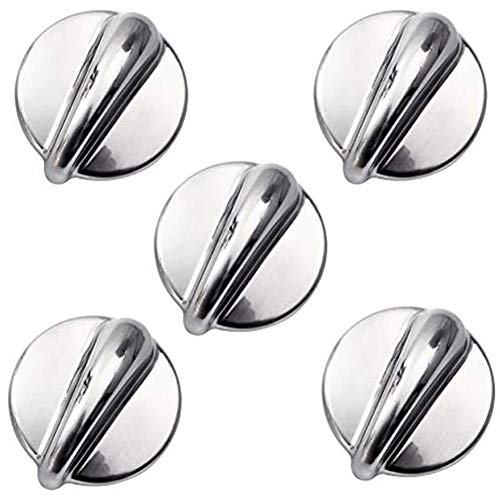 5 Packs WB03K10303 Upgraded Surface Burner Control Knob Stove Replacements konbs for GE,Heavy Duty Metal Cooktop Control Knob Replaces Part Numbers WB03K10208,AP4980246, 1810427, AH3486484, EA3486484