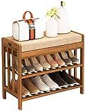 Estante de zapatos Zapatero zapatero zapatero multifuncional con asiento suave, Organizador for los estantes de Modern Simplicidad zapatos de madera en varias capas, de entrada, Caja de zapatos