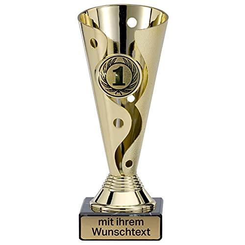 Deitert Pokal in Gold - Trophäe mit Wunschtext graviert und Sportemblem nach freier Auswahl - 15cm Sportpokal mit Marmorsockel für Ihre Siegerehrung