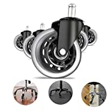 Office Chair Wheels, Set of 5, Replacement 3 Inch Heavy Duty Rubber Chair casters for All Floors Include Hardwood Floors and Carpet,Perfect Replacement for Chair Mat - Rollerblade-Style Universal fit