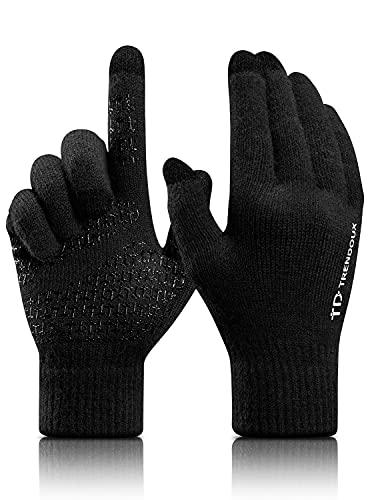 TRENDOUX Gants de Conduite Homme Toucher écran ,Workout Velo Trek Tricot Thermique Chaud Hiver - Tactile Doux Chaud en Laine - Stretch Gants pour Smartphones Tablettes- Noir L