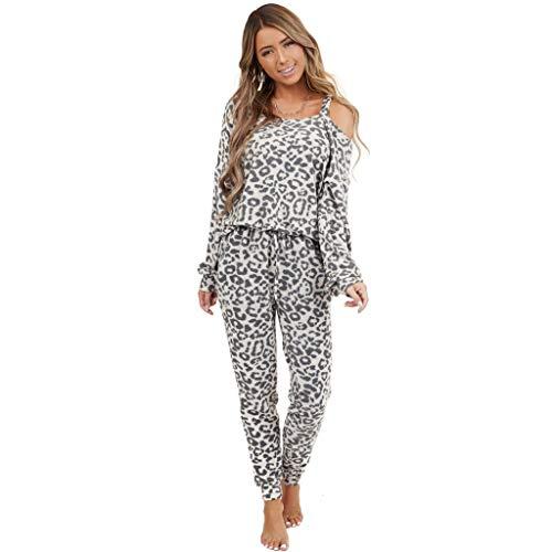 BaZhaHei 2 Stücke Frauen Trainingsanzug Leopardenmuster Hosen Sets Freizeit Tragen Lounge Tragen Anzug Schlafanzug Pyjama Outfits Set Lang Nachtwäsche Damen Zweiteilige Sleepwear (Grau B, M)