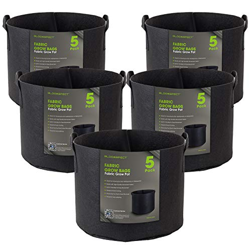 BLOOMSPECT 5-Pack 5 Gallon Grow Bags, Aeration Fabric Pots, Heavy Duty Thickened Nonwoven Plant Container with Handles