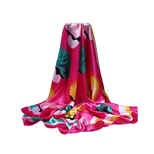 DEBAIJIA Donne Sciarpa Di Seta Grande Quadrato Testa Collo Sciarpe Leggero Neckerchief Avvolge Liscio Moda Crema Solare 110 X110 cm