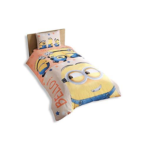 """Set di biancheria da letto singolo/alla francese, composto da 3 pezzi: copripiumino, lenzuolo e federa, per bambini, motivo: Minions, originale, con scritta """"Bello"""", in 100% cotone"""