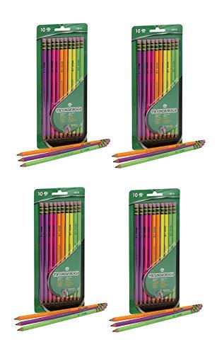 Dixon Ticonderoga No.2 Pencils, Assorted Neon, 10-Pack (4-Pack)