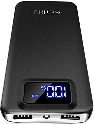 GETIHU Portable Charger, LED Display 10000mAh Power Bank, 4.8A 2 USB Ports High-Speed Battery Pack with Flashlight, Compatible with iPhone 11 XS X 8 7 6S Plus Samsung Galaxy S10 Note 10 9 Oneplus iPad