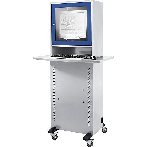 Computerschrank | Lichtgrau-Enzianblau | QUIPO