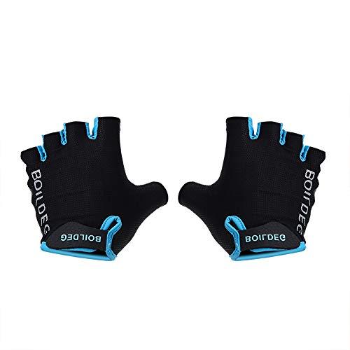LIUTT Half Finger Biking Glove - Outdoor Cycling Half-finger Shockproof Breathable Antiskid Gloves Blue (L)