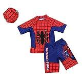 3点セット(水着上、水着下、帽子) スパイダーマン 水着 子供に 男の子 水着 今から大活躍 紫外線カット(短いタイプL)
