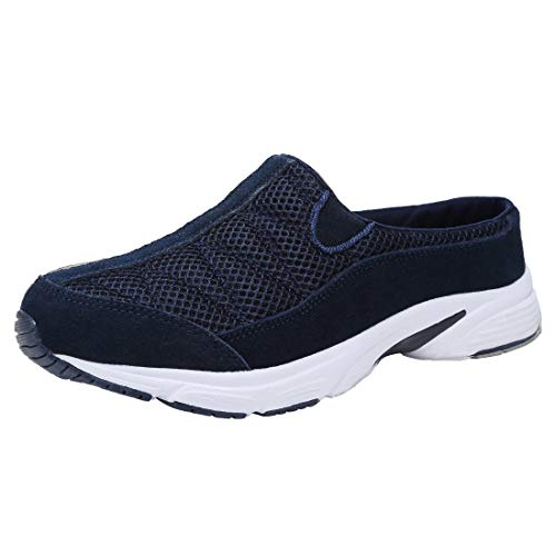 FANTURE Womens Mesh Breathable Casual Sneakers Clog Mule Ultra Lightweight Slip on Walking Shoes Genuine Suede Leather U420Sneaker077-Navy Blue-06-39