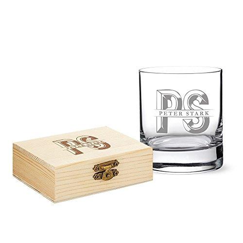 AMAVEL – Juego de Vaso de Cristal con Piedras Reutilizables para Whisky – Personalizado con Nombre e Iniciales – Regalo para Navidad, San Valentín o un cumpleaños – Regalo para Hombres