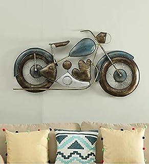 Mahalaxmi Art Handcrafted Metal Bullet Bike Wall Decor Gold Wall Hanging Decorative Wall Arts