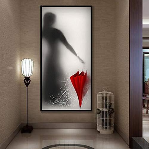YuanMinglu Moderne drohende Mädchen Regenschirm Digitale Silhouette Wohnzimmer Dekoration Malerei Leinwand Wandbild rahmenlose Malerei 20x45cm