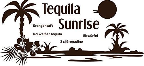 GRAZDesign Kühlschrank Aufkleber dekorieren Cocktail - Wandsticker Küche Bar - Wandtattoo Küche Tequila Sunrise / 65x30cm / 080 braun