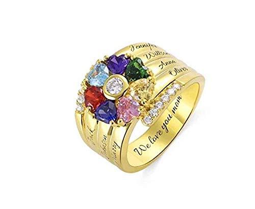 hjsadgasd La Familia Nombre Personalizado Grabado Anillo 5 birthstones y 5 Nombres Sterling Silver Promise Ring