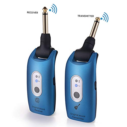 Wireless Guitar Transmitter & Receiver System 2.4G Wireless Audio Rechargeable 164ft Transmission Range for Electric Guitar Bass (Blue)