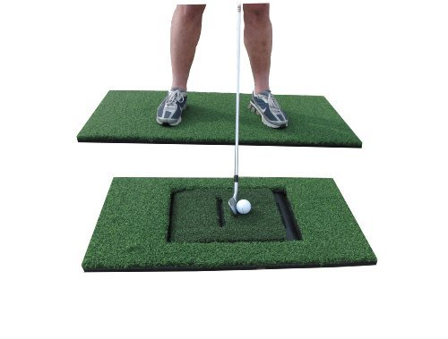 PREMIUM PRO TURF 24' x 48' Golf Stance and 12' x 24' Combo Hitting Mats for The Golf Simulator Sensor