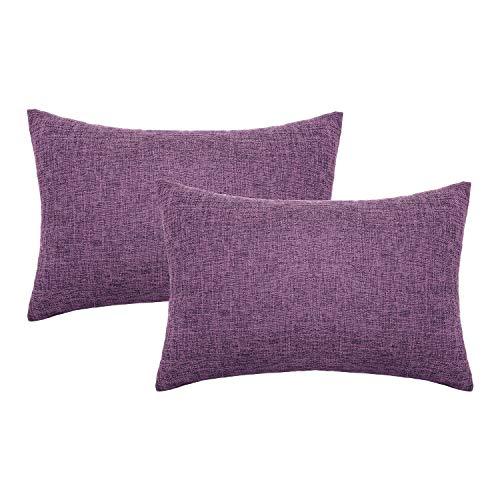 Lewondr Fine Linen Cushion Cover, Set of 2 Square Soft Woven Fine Throw Pillow Case Sham Sofa Cushion Decoration Solid Color Pillowcase 12x20 Inch(30x50 cm) - Purple