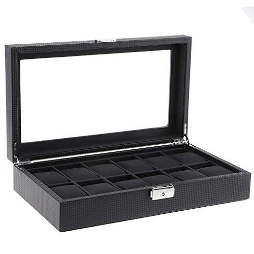 HomeDecTime Caja de Exhibición de Reloj de Fibra de Carbono Duluxe de 12 Ranuras, Regalo para Esposo O Papá