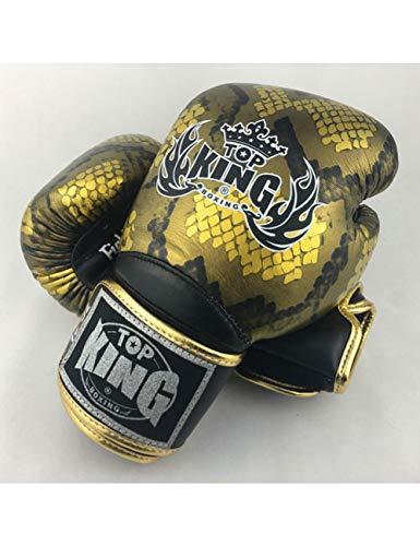 HJJREN Guantes De Boxeo Top King TopkingEstilo De Piel DeCuero De VacaTk01 Luchadores De Muaythai Entrenamiento De Hombre Profesional Oro Negro
