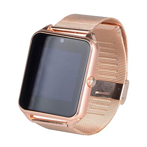 LYB Smart Watch Metal Clock with Card Slot Mensaje De Empuje Conectividad Bluetooth Android iOS Teléfono SmartWatch Pulseras (Color : Golden)
