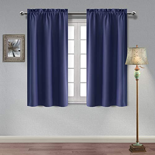 Hiasan Thermal Insulated Blackout Curtains Sun Blocking and Privacy Protection Room Darkening Window Curtains for Bedroom and Living Room, 38 x 45 Inches, Navy Blue, 2 Panels