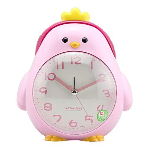 TEQIN - Despertador con forma de gallina y luz nocturna para estudiantes, color rosa