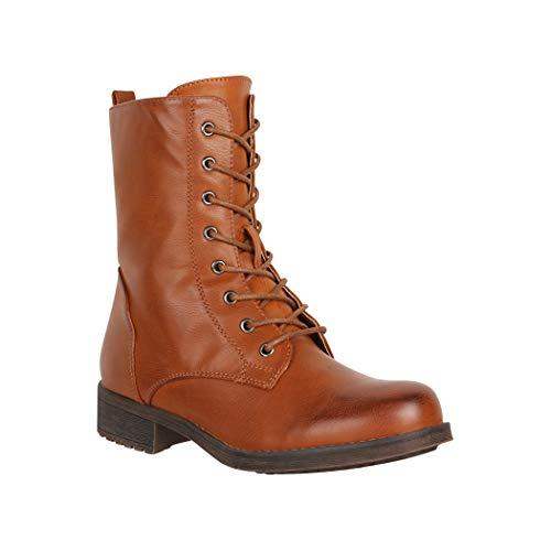 Elara Damen Stiefeletten Worker Boots Chunkyrayan 867 Camel-38