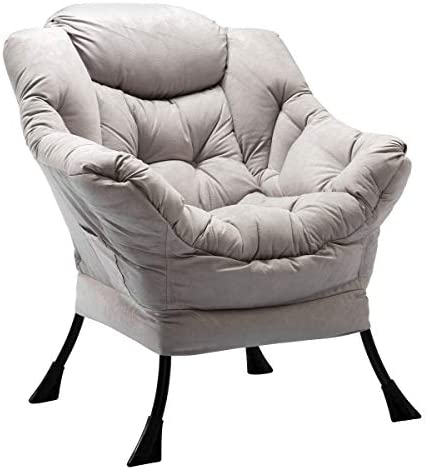 Best HollyHOME Modern Fabric Lazy Chair, Accent Contemporary Lounge Chair, Single Steel Frame Leisure Sof