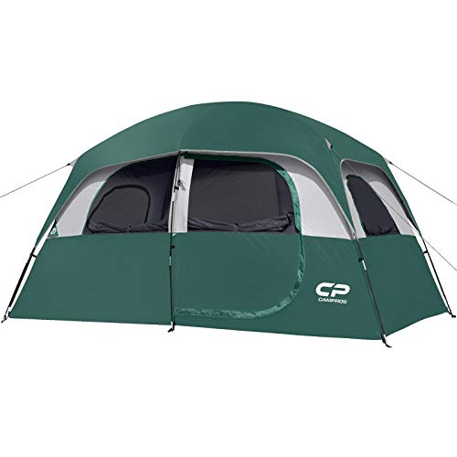 CAMPROS Tent-6-Person-Camping-Tents, Waterproof Windproof Family Tent with Top Rainfly, 4 Large Mesh Windows, Double Layer, Easy Set Up, Portable with Carry Bag, for All Seasons - Dark Green