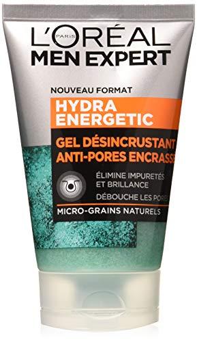 L'Oréal Men Expert - Gel Désincrustant Anti-Pores Encrassés -Soin du Visage - Hydra Energetic - 100 mL - Lot de 2