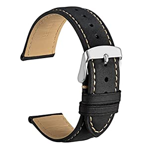 WOCCI Watch Band, Vintage Leather Watch Strap 14mm 16mm 18mm 19mm 20mm 21mm 22mm 23mm 24mm,Choice of Color and Width
