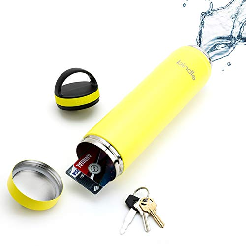 Bindle Bottle 20oz Slim Lemonade Yellow | Stainless Steel Double Walled & Vacuum Insulated Water Bottle with Storage/Stash Compartment | Cup Holder Friendly | Drinks Stay Cold for 24 Hours