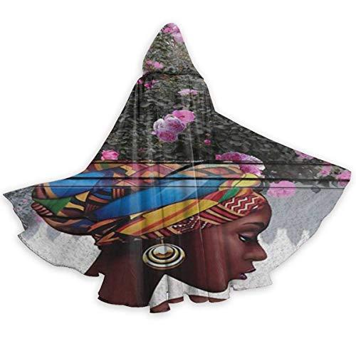 Zome Lag Capa para Adultos Capa Afroamericana Afro Chica Mujer Cabello Hippie Unisex Magia Navidad Halloween Fiesta De Brujas con Capucha Vampiros Capa De Boda Capa