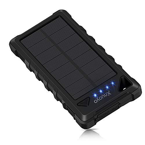 Xnuoyo 20000mAh Solar Ladegerät IP67 Wasserdicht Duale USB Anschlüsse Externer Akku Portable Bank Power Ladegerät mit Karabiner für Android, IOS (Schwarz)
