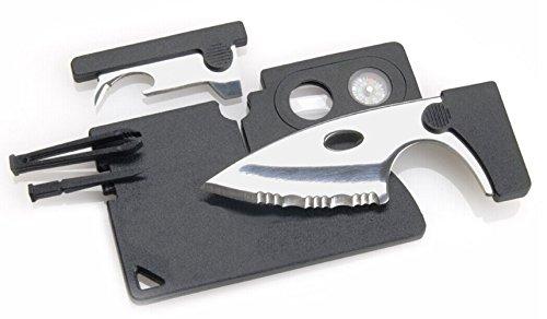 VAGANY Credit Card Companion mit Wellen 2-Zoll-Stahlklinge, Objektiv und Kompass, 9-Werkzeuge Gesamt, schwarzes Ende
