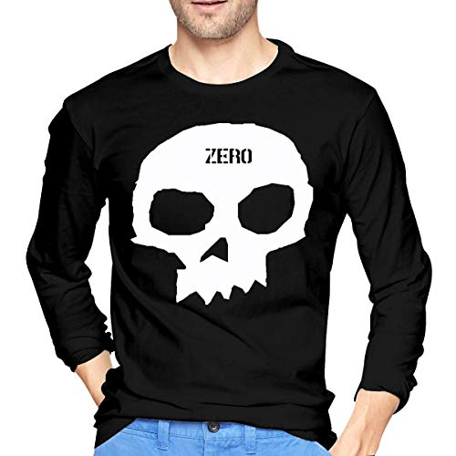 maichengxuan Zero Skateboards Single Skull Men's Fashion T-Shirt 3D Printing Long Sleeves Casual Tee Graphic Tops Black