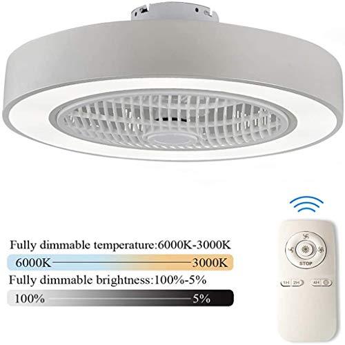 Llds Ventilator Aan Het Plafond Instelbare Verlichting Met LED-Licht Windsnelheid Dimbaar Met Afstandsbediening Moderne LED-Plafond Licht Lamp Voor Slaapkamer Woonkamer,White
