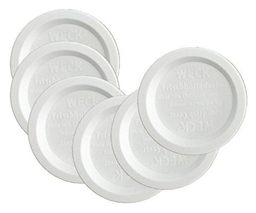 Weck Jar Keep Fresh Plastic Lids, 6 PACK (Small = 60mm). Fits models 080, 755, 760, 762, 902, 763, 764, 766, 905, 975, 995