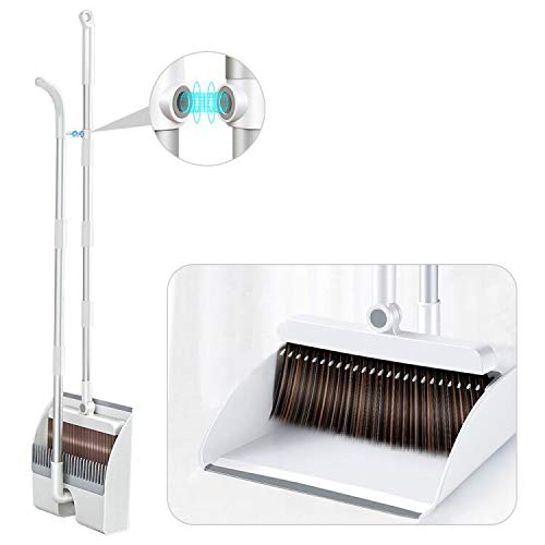 INVOSON Magnetic Broom and Dustpan Set Cleans with Adjustable 53' Long Handle for Home Room Kitchen Office Lobby Floor Use Upright Stand Up Broom Dustpan Combo - Magnetic Automatic Buckle