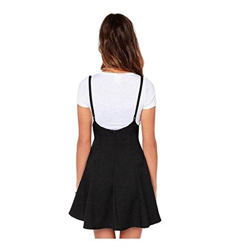 Rcool Frauen Mode schwarzen Rock mit Schulterriemen plissiert Mini Kleid Schwarz (XXL) - 3