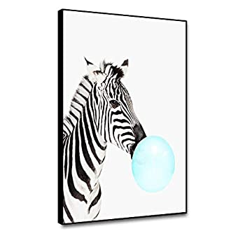 shensu Framed Canvas Wall Decor Art Prints Cute Animal Funny Pictures Zebra Blowing Blue Bubble Gum Wall Artwork for Girls Boys Room Modern Living Room Kids Bedroom Kitchen Home Decoration 12x18inch