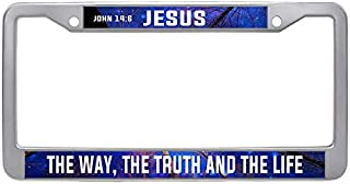Makoncase Bible Verses Sayings Car License Plate Frame, Jesus The Way, The Truth and The Life Auto License Tag Holder