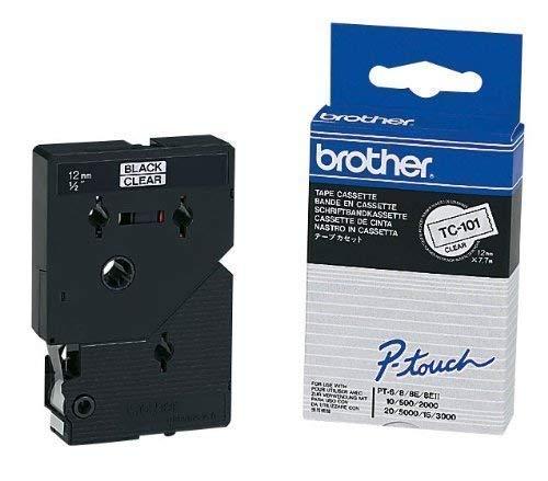 brother Beschriftungsband TC-101 / 12 mm / Druck schwarz / Band transparent / für brother P-touch 8e, 500, II, 2000, 3000, 5000